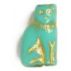 Glass Bead Cat 15mm Green Turquoise/Bronze Strung